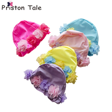 Children Lace Up Floral Swimming Caps Girls 3D Flower Swim Caps Baby Swimming Cap Hat Ear Protection Kid Long Hair Swim Cap 185