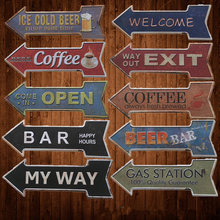 Retro Metal Tin Signs Arrow Shaped Painting Bar Coffee Beer Bar Gas Plate Wall Decor Exit Open signboard hanging Welcome sign