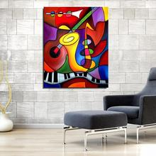 Violin Sax Musical Instruments Still life Abstract Frameless Oil Painting Home decor Spray drawing Canvas scarf artist gift(China)