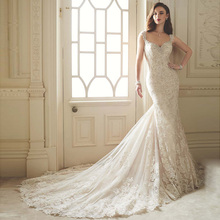 2016 Style Luxurious Lace Bridal Dresses Mermaid Beads Robe de Mariee Sirene Wedding Dresses Sheer Back with Big Long Tail