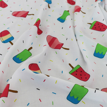 Cute ice cream print fabric kids clothing material rayon poplin