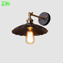 American Loft Industrial Wall Lamps Vintage Bedside Wall Light Metal 25cm Lampshade E27 Edison Bulbs 110V/220V lotus leaf Lamps