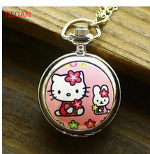 Hot sales enamel lovely cartoon Hello Kitty quartz  Pocket watches necklace children pendants clock