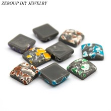 ZEROUP 30pcs 12mm Square Resin Cameo Cabochons Mixed Color Cabochon Setting Supplies for Jewelry Accessories Flat Back Base(China)