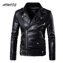Buy AOWOFS Spring Leather Jacket Men Turn Collar Mens Leather Jacket Adjustable Waist Belt Vintage Motorcycle Jacket Coats 5XL for $53.40 in AliExpress store