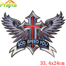 New Skull Cross Wing Angel Cheap Embroidered Iron On Motorcycle Patches For Clothes Big Back Eagle Harley Patch Jacket Applique(China)