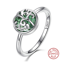 Real 925 Sterling Silver Tree of Life Finger Ring Green Crystal Leaf Rings For Women Fine Jewelry(China)