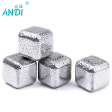 5 pcs/lot Newest Whiskey Stainless steel Stones Whisky ice cooler for Whiskey beer Bar household Wedding Gift Favor Christmas(China)