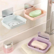 Plastic Drainage Soapbox Toilet Suction Cup Bathroom Shower Soap Dish Home Soap Tray Wall Mounted Soap Holder Storage Box