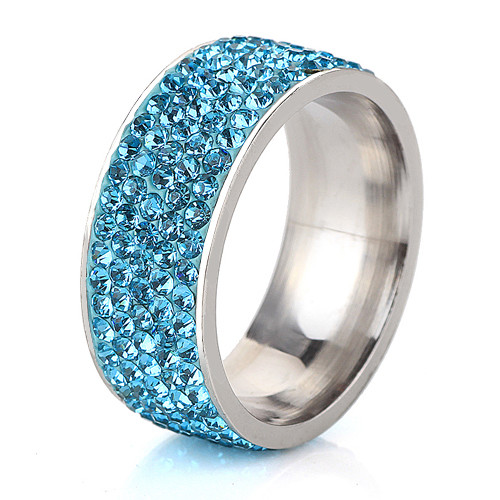 5 Row Lines Clear Crystal Jewelry Fashion Stainless Steel Engagement Rings 9