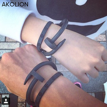 AKOLION Screw Nail Bracelet Homme Silicone Black Silicone Energy Bracelet For Mens Women Bracelets Jewelry Wristbands Band