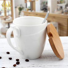 Porcelain Coffee Mug with Bamboo Lid Ceramic Handle Stainless Steel Spoon Circle Pattern Pottery Cup for Women(China)