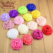 "Nishine 120pcs/lot 3"" Soft Matte Satin Silk Flowers For Kids Hair Accessories Artificial Rolled Rosette Fabric Flowers For Diy(China)"