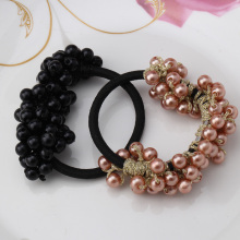 New Korean Women Girl's Headwear Accessories Rhinestone Imitation Pearls Beads Elastic Rubber Band Ties Ponytail Holder Scrunchy(China)
