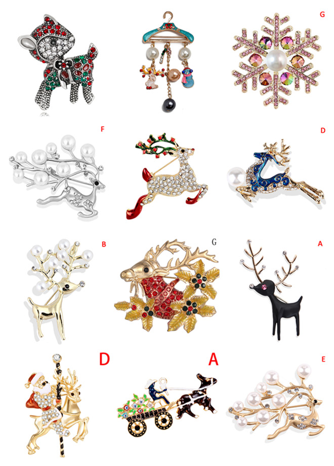Hot Sale 1Pc Crystal Christmas Brooches Pins Cute Running Christmas Deer For Women Gift Fashion Pin Brooches Jewelry Accessories