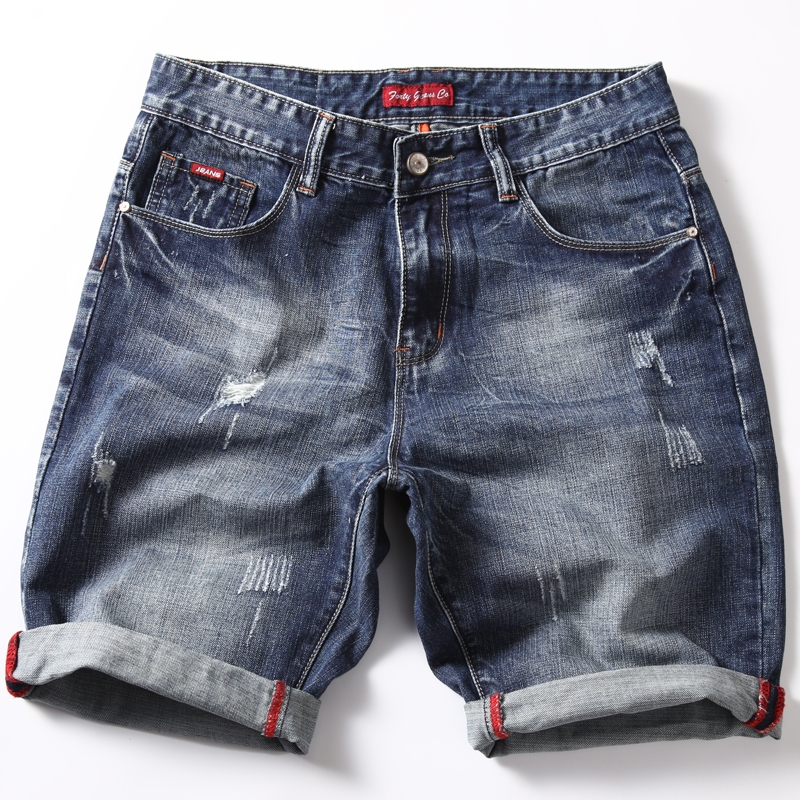 Jeans Shorts Skinny Male Men's Summer Casual Denim Brand Slim-Fit New-Style Fashion Blue title=
