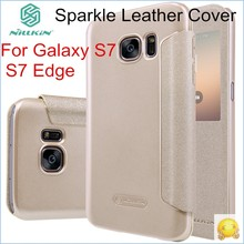 Nillkin Sparkle Leather Flip Cover For Samsung Galaxy S7 / S7 Edge Windows View Smart Protective Case(China)