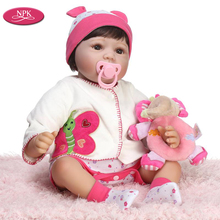 "NPK 22"" Real Gentle Touch Reborn Baby Doll Lovely Princess Girl 55CM De Silicone Children Play House Doll Game Realistic Babies(China)"