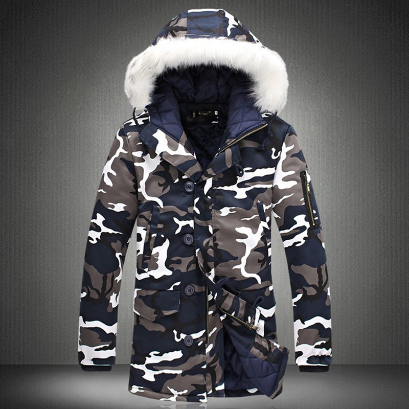 Fur Collar Hooded Parka Jackets 2019 Men's Coats Camouflage Thick Windbreak Quality Casual Military Winter Jackets Men M-4XL