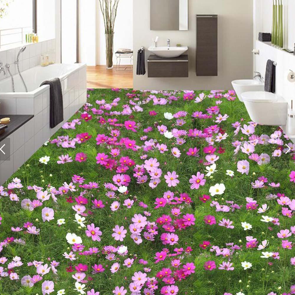 flower PVC flooring Wallpaper Murals for Bathroom Wall Paper Rolls Vinyl Self Adhesive flooring Wall Papers Sticker Custom Size<br>