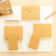 2Pcs/set New Simple Kraft Paper Line Self-Adhesive Memo Pad Sticky Notes Sticker Label School Office Supply(China)