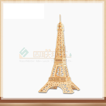 3D wooden Eiffel Tower jigsaw puzzle wooden tower jigsaw puzzle toy IQ educational wooden toy DIY handmade puzzles Children Gift(China)