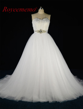 2017 Luxury ball gown Wedding dress with feather top hot sale bridal dress custom made factory supplier wedding gown(China)