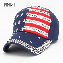 PINMI 2017 New Men Women Baseball Cap USA Flag Diamond Rivet Brand Snapback Cap Unisex Adjustable Rap Rock Hats Fashion Gorras