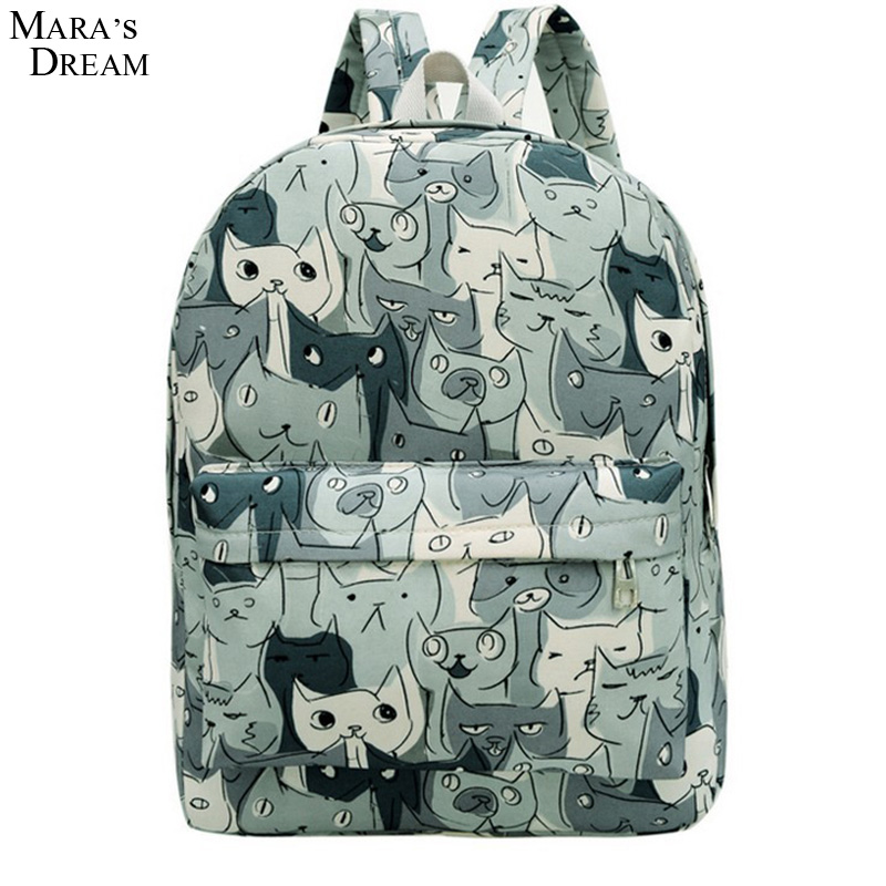 Maras Dream Backpack Teenager Canvas Rucksack Backpack Printing Cut Cat Zipper Big Capacity Computer School Couple bag<br><br>Aliexpress
