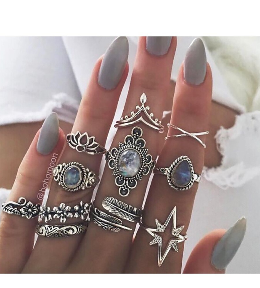 Bague Femme Vintage Rings for Women Boho Geometric Flower Crystal Knuckle Ring Set Bohemian Midi Finger Jewelry Silver Color 33
