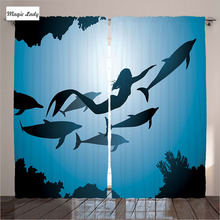 Curtains Modern Design Mermaid Dolphins Underwater View Friendship Travel Diving Fin Sea Bedroom Blue Black 2 Panels 145*265 sm