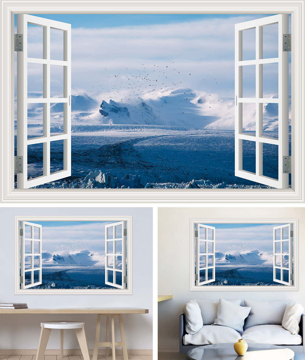 HTB18Qkeb7fb uJkSnb4q6xCrXXac - Modern 3D Large Decal Landscape Wall Sticker Snow Mountain Lake Nature Window Frame View For Living Room