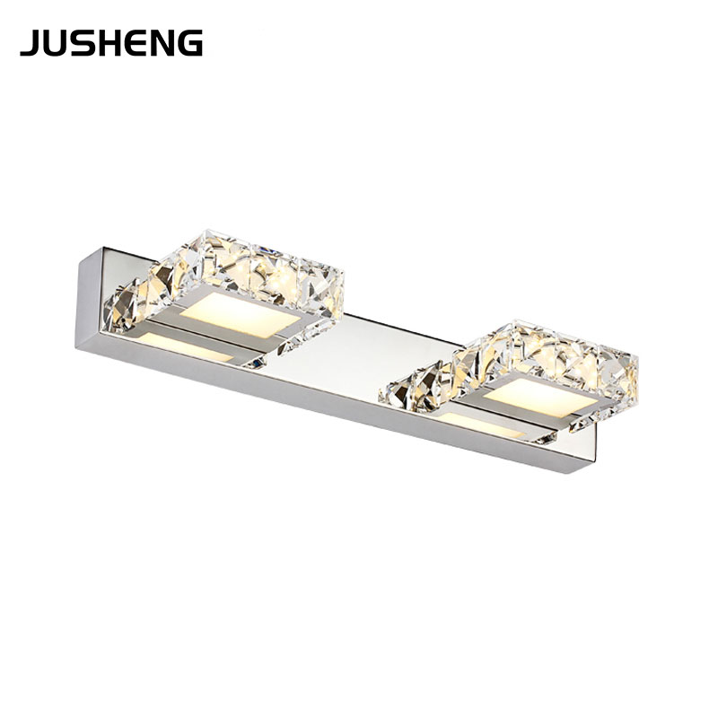 JUSHENG 6W Crystal Bathroom Wall Lighting fixture 2-lights 32CM Square Indoor LED Wall Lights AC110V /220V