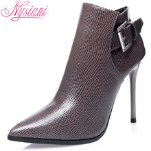 Autumn Fashion High Heels Ankle Boots Woman 2017 Brand Designer Winter Buckle Female Sexy Pointed Toe Thin Heels Boots Nysiani