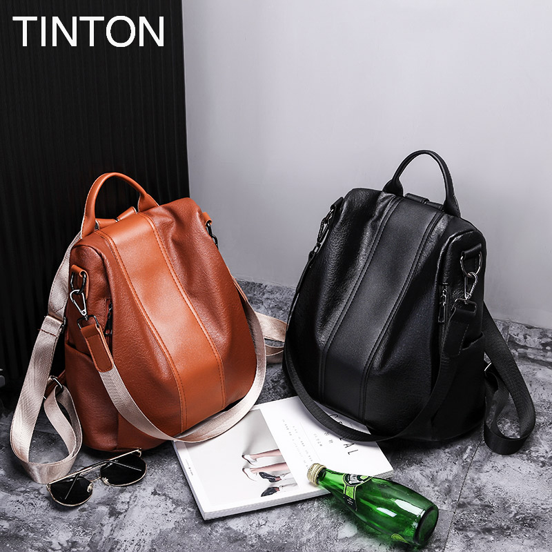 TINTON  New Fashion 2018 backpack for women laptop PU leather school Multi-functional soft backpack travel bag female gift hot<br>