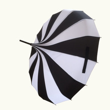 New long-handle pongee canopy white and black colors fancy pagoda lady umbrellas
