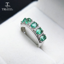 TBJ,Natural Zambia Green Emerald precious gemstone Ring in 925 sterling silver for women as anniversary gift with jewelry box(China)