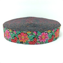 "wholesale 7/8'' 22mm 5/8"" 16mm Wide Flower color elegant style Woven Jacquard Ribbon dog chain accessories 10yards/lots(China)"