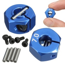 RC Blue Aluminum Alloy 7.0 Wheel Hex 12mm Drive 4P HSP HPI Tamiya Car Suit For All 1:10 RC Car Tire Parts Set(China)
