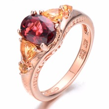 Silver Women Rings Wedding Engagement Sterling 925 Gold Plated New Arrival Natural Garnet & Citrine Oval Fine Jewelry