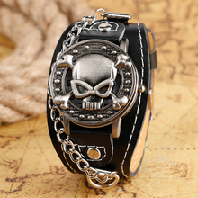 Cool Promotion Skull Design Steampunk Wristwatches Men's Skeleton Bangle Leather Bracelet Watch for Women Relojes Montres