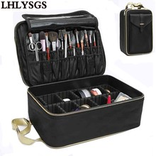 LHLYSGS Brand Suitcase Three-Layer Cosmetic Box Bag Women Beauty Professional Cosmetic Case For MakeUp Tattoos Nail Art Tool Bin