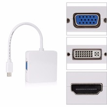 3 in 1 Mini DP TO HDMI VGA DVI Adapter Cable Thunderbolt MINI DP to HDMI VGA DVI Male to Female Converter For MacBook PowerBook(China)