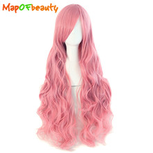 MapofBeauty Long Wavy Cosplay Wigs Oblique Bangs Pink Black Blue Brown Grey 34 Multipl Colors 80cm Synthetic Hair Heat Resistant