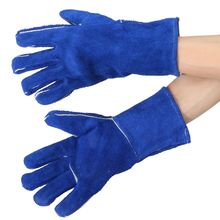 "Safurance 14"" Welding Gloves Gauntlets Welder Hands Fire High Temperature Protection Blue Workplace Safety Glove(China)"