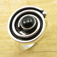 Exclusive Black Onyx GEM Ring Size US 8.75 ! Silver Plated Jewelry ONLINE STORE(China)