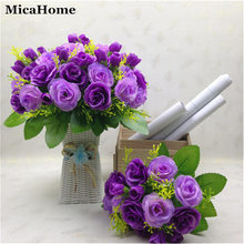 Korean Decorated Silk Flower Plants Fake Flower Emulational Valentine Rose Artificial Flowers for Living Room Ornament