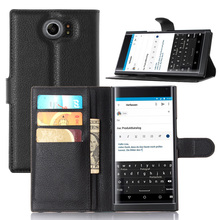 For Blackberry Priv Luxury Litchi Texture Wallet Leather Case Cover With Solid Stand Function And Visa Card Slot(China)