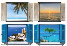 Maruoxuan 28 Styles For You Choose 3d Window Decal Wall Stickers Home Decor Beach Landscape View Art Wallpaper Mural Poter