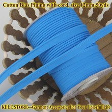 Free shipping--100% Cotton Bias Piping, Piping tape,bias Tape with cord,size:12mm, 50y,for bed linings Blue  turquoise blue